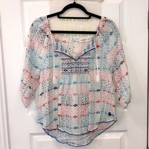 A&F embroidered boho blouse